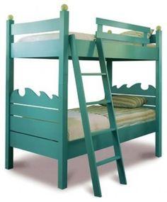 teal bunk beds with ocean waves
