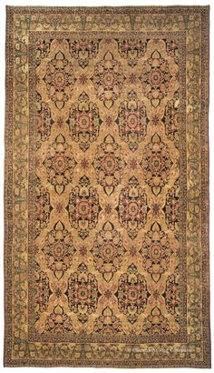 LAVER KIRMAN, Southeast Persian 9ft 2in x 16ft 2in 3rd Quarter, 19th Century http://www.claremontrug.com/antique-rugs-information/collecting/claremont-rug-companys-new-acquisition-highlights-antique-persian-rugs/