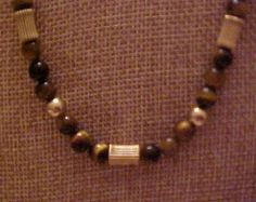"Tigers Eye Necklace  18"" with Gold tone Trim. FREE shipping in the United States"