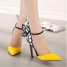 Grande formato 2015 sottili tacchi alti delle donne pompe 8/11 cm, farfalla tacchi sandali, scarpe da sposa sexy party giallo viola nero(China (Mainland))