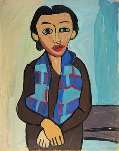 Woman with Plaid Scarf, ca. 1939-1940, William H. Johnson, tempera on paperboard, 28 x 22 in. (71.1 x 55.9 cm), Smithsonian American Art Museum, Gift of the Harmon Foundation, 1967.59.283