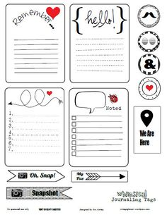 Black white journaling cards