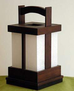 Japanese-style Shoji Lamp - Alder/Expresso Stain on Etsy, Sold
