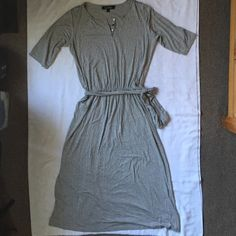"""Grey jersey dress Beautiful very soft jersey maxi dress ❤️56"""" from shoulder to hem, this dress will become your favorite!! excellent condition ❤️ 3/4 sleeves  reasonable offers welcome  Lisa Kline Dresses Maxi"""