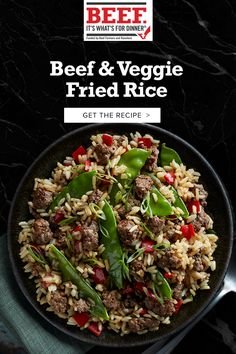 Give leftover rice new life with seasoned Ground Beef and sautéed peas and peppers. Who needs delivery? Beef Recipes For Dinner, Ground Beef Recipes, Cooking Recipes, Easy Chinese Recipes, Asian Recipes, Healthy Recipes, Pasta Facil, Veggie Fried Rice, One Pot Meals