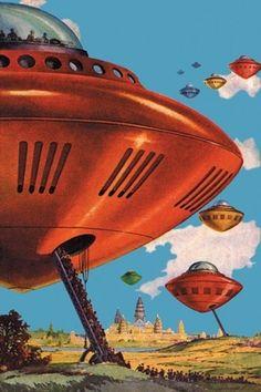 Spaceships  { Retro Future - Retro Futurism - Vintage Sci Fi -  Flying Saucer - Space Ship - Ray Gun - Atomic Age }