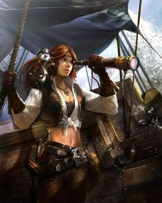 A pirate with a pet ferret that wears a pirate hat. Yeah, sounds like a DnD character. Pirate Art, Pirate Woman, Pirate Life, Lady Pirate, Dnd Characters, Fantasy Characters, Female Characters, Fantasy Warrior, Fantasy Girl