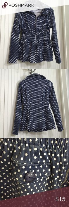 Francesca's Miami polka dot jacket Cute Miami Brand fitted polka dot jacket from Francesca's. 97% Cotton 3% Spandex. Elastic gathered waist, two button pockets in front and silver front zipper. The navy has faded all over from washing. Picture 3 is best representation of color/fading. Used condition from smoke free home. Francesca's Collections Jackets & Coats