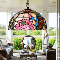 BYB Antique Tiffany Style Stained Glass Hanging Pendant Ceiling Lamp Chandelier