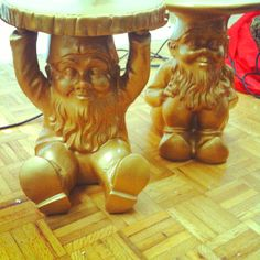 I can't believe Santa brought Philip starck gold gnome tables