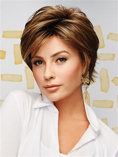 The Hope Heat Friendly Synthetic Wig by Gabor includes textured layering and feathered lengths with a soft fringe for a perfectly stylish 'undone' look with face-framing sides are long enough to be tucked behind the ears. Short Hairstyles For Thick Hair, Short Hair Cuts, Short Hair Styles, Blonde Pixie Cuts, Trending Hairstyles, Hairstyles Haircuts, Weave Hairstyles, Teenage Hairstyles, African Hairstyles