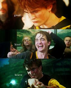 """""""Remember, if the time should come, when you have to make a choice between what is right and what is easy, remember what happened to a boy who was good, and kind, and brave, because he strayed across the path of Lord Voldemort. Remember Cedric Diggory."""""""