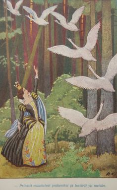 Rudolf Koivu The Six Swans Illustration, Grimm's Fairy Tales Children's Book Illustration, Illustrations, Fantasy World, Fantasy Art, Grimm Fairy Tales, Fairytale Art, Beautiful Fairies, Faeries, Artwork