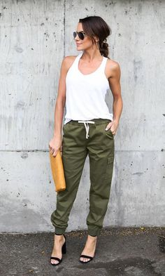 Women High Waist Sports Cargo Pants Outdoor Casual Trousers Pants Material: Polyester Clothing Length: Regular Pattern Type:Solid Style: Fashion,Causal Size Chart(Unit:cm/inch) Size:S Size:M Size: Summer Outfits, Casual Outfits, Cute Outfits, Fashion Outfits, Womens Fashion, Estilo Fashion, Ideias Fashion, Jogger Pants Outfit Dressy, Green Pants Outfit