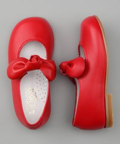 Red Leather Bow Flat on #zulily