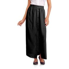 Ali & Kris Juniors Button Front Maxi Skirt, Size: Small, Black