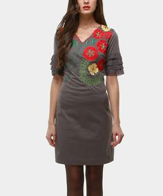 Take a look at this Gray Blossom Ruffle-Sleeve V-Neck Dress by Almatrichi on #zulily today!