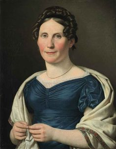 Portrait of Mrs Wad, by Christoffer Wilhelm Eckersberg Turbans, 1800s Clothing, Small Curls, Old Master, Female Images, Shades Of Blue, Danish, Fashion Portraits, 19th Century