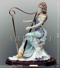 Lady Harp Sabadin Vittorio Stunning Colored Sculpture Porcelain Gold Plated | eBay