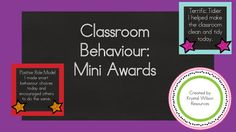 This product (Classroom Behaviour: Mini Awards), is a set of four different behaviour awards that can be printed, laminated and handed out to students within your classroom. They are a way of allowing parents who you don't get to see every afternoon know that their child had positive behaviour throughout the day.I use them in my classroom and the learners can't wait until the end of the day to see who gets to take home the daily award.If you have any questions about this product, please…