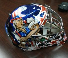 The goalie mask United States goaltender Ryan Miller will wear during the Olympic games. The mask was built by Warwick Mask Company in Port Huron, and painted by Bishop Designs out of Grand Blanc. Hockey Goalie, Hockey Mom, Ryan Miller, Port Huron, Goalie Mask, Winter Olympics, Chicago Blackhawks, Olympic Games, Athletes