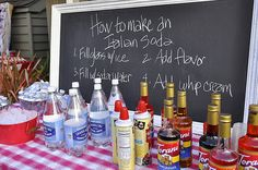 Love this idea to so an Italian Soda Bar at a party. These are so yummy and I love that people get to make their own...{Less work for me}