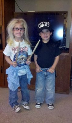Wayne's world! Party time! Excellent!!!      this is what the boys are going for for halloween this year.