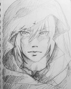 Yamanbagiri sketch fanart touken_ranbu touken_danshi pencil black_n_white anime manga style drawing draw