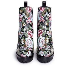 Alexander McQueen Embroidered floral print stud leather Chelsea boots (£1,380) ❤ liked on Polyvore featuring shoes, boots, ankle booties, floral boots, high heel booties, studded high heel boots, beatle boots and studded booties