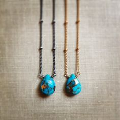 Petite Turquoise Necklace, Mojave Turquoise Faceted Gemstone Pendant, Sterling Silver Chain Necklace on Etsy, $33.00