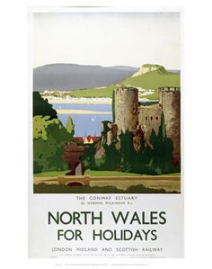 Vintage Travel GBP - Vintage North Wales Conway Lms Railway Travel Tourism Poster Re-Print Posters Uk, Railway Posters, Poster Prints, Train Posters, Framed Prints, Canvas Prints, Famous Marines, National Railway Museum, British Travel
