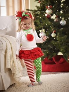 Amazon.com: Little Infant Baby or Toddler Girls Christmas Ornament Tunic and Skirt Leggings Outfit: Clothing
