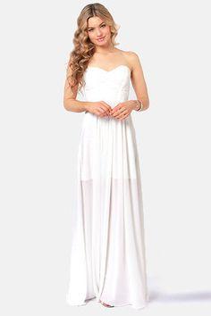 LuLu's Evening Star Strapless White Maxi Dress.  $57.00