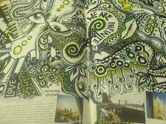 Interesting how the drawings arise out of a book.  #doodles #drawing