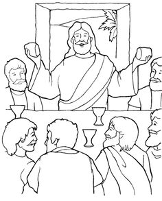 Jesus in the Last Supper Coloring Page Make your world more colorful with free printable coloring pages from italks. Our free coloring pages for adults and kids. Jesus Coloring Pages, Dog Coloring Page, Coloring For Kids, Printable Coloring Pages, Coloring Pages For Kids, Coloring Books, Coloring Sheets, Bible Story Crafts, Bible Stories