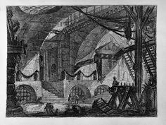 Piranesi   12- El motivo central es una plataforma elevada sobre tres arcos enrejados cerrada frontalmente por columnatas y cadenas. En primer plano a la derecha instrumentos de tortura y dos escaleras de mano.