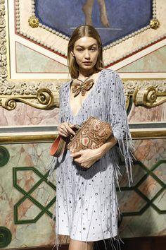Gigi Hadid Photos Photos - Gigi Hadid is seen backstage ahead of the Bottega Veneta show during Milan Fashion Week Spring/Summer 2018 on September 23, 2017 in Milan, Italy. - Bottega Veneta - Backstage - Milan Fashion Week SS18