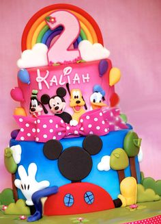 Kit includes Rainbow topper with age Childs name in Disney Font 1 Mickey, 1 Pluto, 1 Donald 6 assorted color ballons 1 Mickey Pastel Mickey, Mickey And Minnie Cake, Bolo Mickey, Mickey Party, Disney Mickey, Minni Mouse Cake, Mickey Mouse Clubhouse Birthday Party, Mickey Mouse Bday, Mickey Mouse Birthday