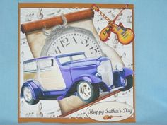 32 Ford Speed Wagon Traveling in Time with Music decoupage on Craftsuprint designed by Barbara Hiebert - made by Susan Smith - With this design i first printed it out onto photo paper, then after cutting out all the elements, i placed the main design base onto the front of my card, i then made up the design, this i did using 2mm sticky pads, i finished my card by adding fathers day sentiment which i placed at the bottom