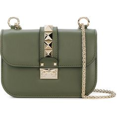 Valentino Rockstud Lock cross-body bag (8.060 RON) ❤ liked on Polyvore featuring bags, handbags, green, studded shoulder bag, valentino shoulder bag, green cross body purse, crossbody shoulder bag and green handbags