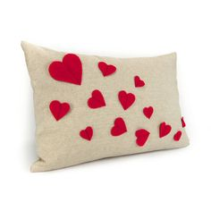 Growing hearts pillow case  Red felt heart by ClassicByNature, $38.00