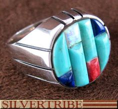 Multicolor Inlay And Genuine Sterling Silver Ring Size 11-3/4 DS55033