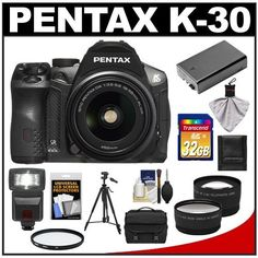 Pentax K-30 Weather Sealed Digital SLR Camera with AL WR 18-55mm Lens (Black) with 32GB Card + Case + Battery + Flash + Tripod + Filter + Telephoto & Wide-Angle Lenses + Accessory Kit by Pentax. $849.95. Kit includes:♦ 1) Pentax K-30 Weather Sealed Digital SLR Camera with AL WR 18-55mm Lens (Black)♦ 2) Transcend 32GB SecureDigital Class 10 (SDHC) Card♦ 3) Spare D-Li109 Battery for Pentax♦ 4) Vivitar 52mm UV Glass Filter♦ 5) PD DSLR300 High Power Auto Fla...