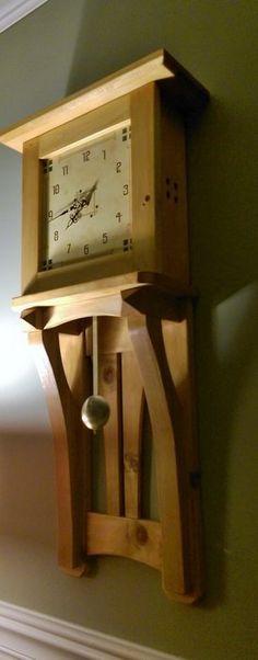 Beautiful Tall Knotty Pine wall Clock Craftsman Clocks, Craftsman Furniture, Shaker Furniture, Craftsman Style, Woodworking Furniture Plans, Woodworking Workbench, Fine Woodworking, Woodworking Workshop, Woodworking Projects