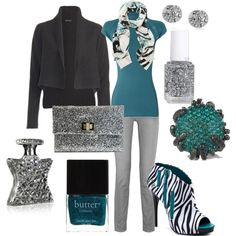 """teal and gray"" by justbeachy21 on Polyvore"