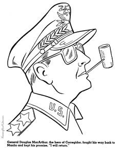 General Douglas McArthur military coloring pages for kid