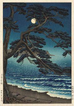 hanga gallery . . . torii gallery: Moon at Enoshima by Toko