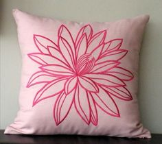 Pink Lotus Embroidery  Throw Pillow Cover  18 x 18 by KainKain