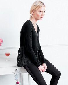 Lace-Back Shirttail Cardigan