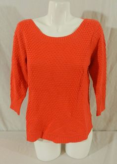 NWT Fever Popcorn Knit Ladies Womens 3/4 Sleeve Sweater Red Coral Smal #Fever #RoundNeck